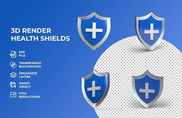 Bouclier de protection de la santé de rendu 3d