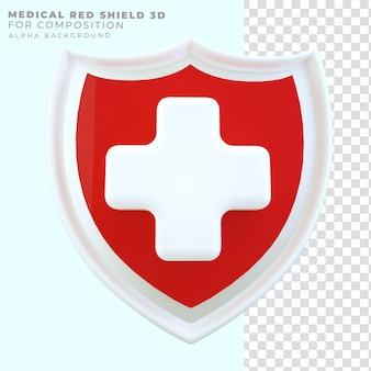 Bouclier rouge rendu 3d santé