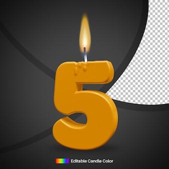 Bougie d'anniversaire allumée numéro 5 avec flamme pour élément de décoration de gâteau