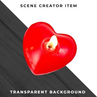 Bougie coeur isolé avec un tracé de détourage.