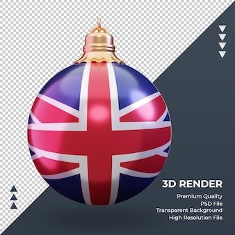 Boule de noël 3d drapeau royaume-uni rendu vue de face