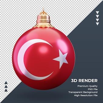 Boule de noël 3d drapeau turquie rendu vue de face