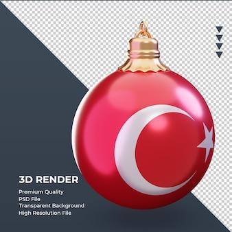 Boule de noël 3d drapeau turquie rendu vue de gauche