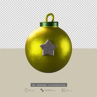 Boule de noël or réaliste avec illustration de rendu 3d étoile