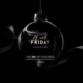 Boule de vente vendredi noir dans le rendu 3d