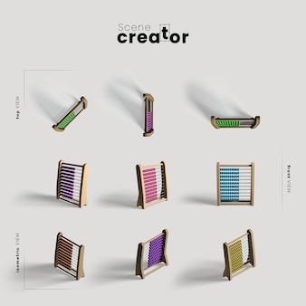Boulier sous différents angles pour des illustrations de créateurs de scènes