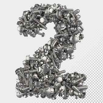Boulon hexagonal isolé 3d render letter 2