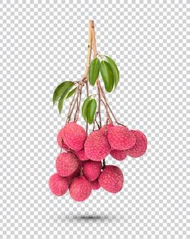 Bouquet de litchis frais avec des feuilles isolées