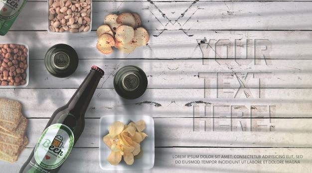 Bouteille de bière réaliste et vue de dessus de maquette de bouchon