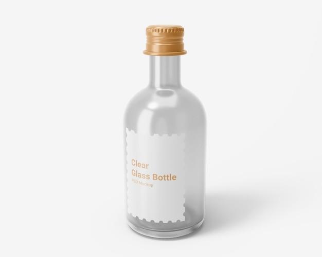 Bouteille de boisson en verre transparent avec maquette de bouchon à vis en aluminium
