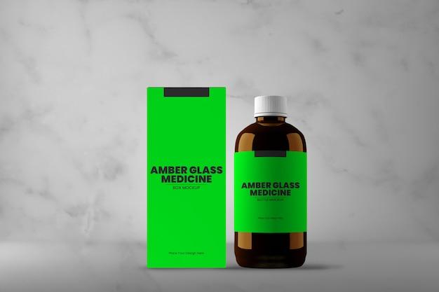 Bouteille de médicament en verre ambré et maquette de boîte