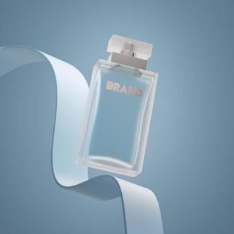 Bouteille de parfum logo maquette fond bleu moderne rendu 3d