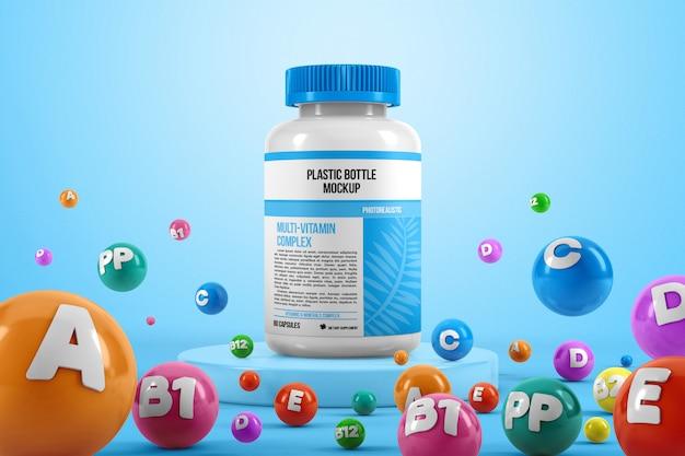 Bouteille de pilule en plastique avec maquette de vitamines colorées