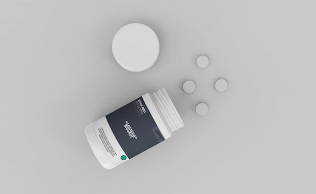 Bouteille en plastique avec maquette de médicaments