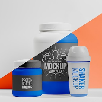 Bouteille de protéines en poudre et pilules avec shaker