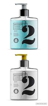 Bouteille de savon colorée avec maquette de pompe