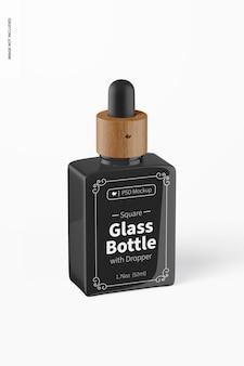 Bouteille en verre carrée de 1,76 oz avec maquette de compte-gouttes
