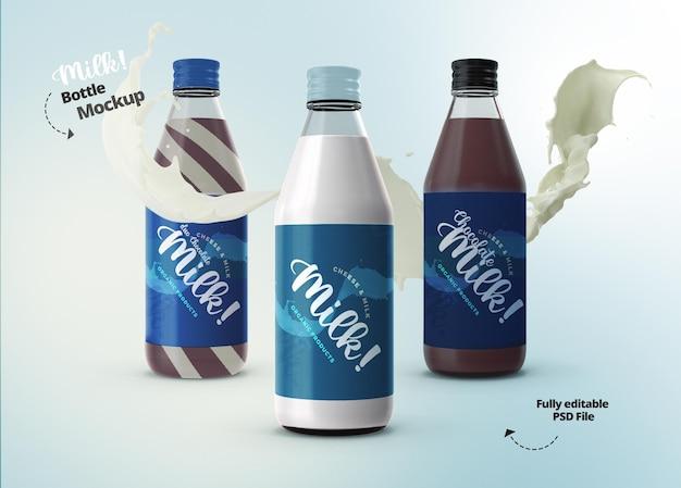 Bouteille en verre de lait de maquette pour le modèle d'agence de publicité