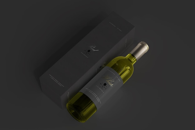 Bouteille de vin blanc avec maquette de boîte