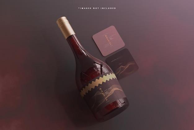 Bouteille de vin à bouchon à vis avec maquette de carte de visite