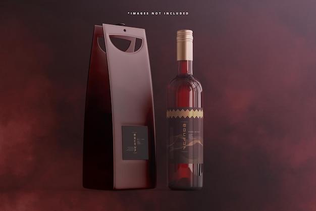 Bouteille de vin à bouchon à vis avec maquette de sac ou de boîtier