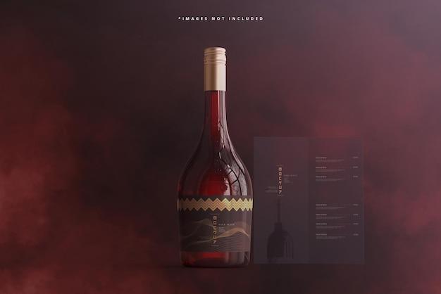 Bouteille de vin avec brochure ou maquette de menu