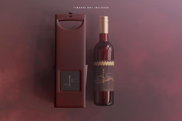 Bouteille de vin avec maquette de sac ou de boîtier