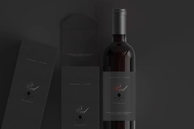 Bouteille de vin rouge avec maquette de boîte