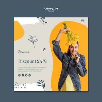 Boutique de fleurs avec modèle de flyer carré discount