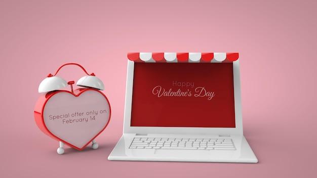 Boutique en ligne et maquette de vente de la saint-valentin sur le marché. illustration 3d.