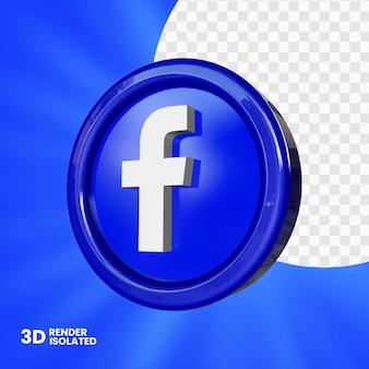Bouton facebook 3d isolé