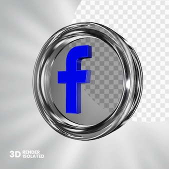 Bouton facebook en verre 3d isolé