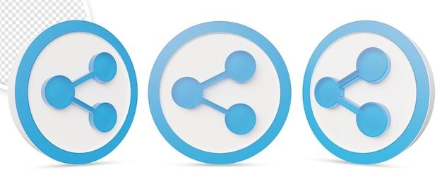 Bouton d'icône de partage 3d dans la conception de rendu 3d
