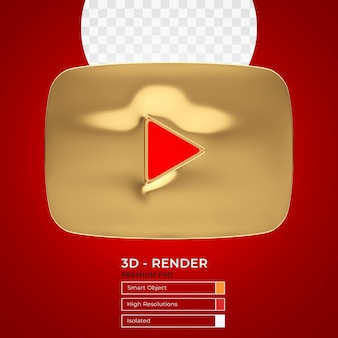 Bouton de lecture youtube gold render 3d