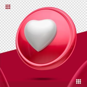 Bouton rouge avec coeur blanc comme icône droite 3d isolé