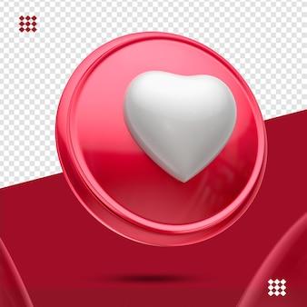 Bouton rouge avec coeur blanc comme icône gauche 3d isolé