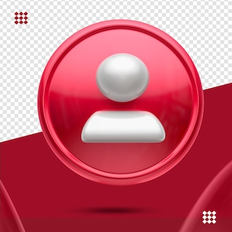 Bouton rouge avec suiveur blanc comme icône avant 3d isolé