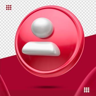 Bouton rouge avec suiveur blanc comme icône droite 3d isolé