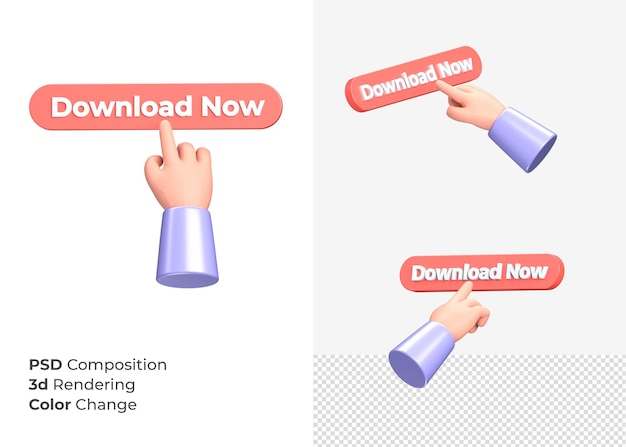 Bouton de téléchargement de rendu 3d maintenant avec concept de main