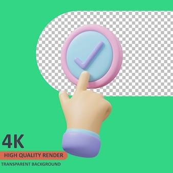 Bouton vérifier l'icône de validation d'évaluation 3d illustration rendu de haute qualité