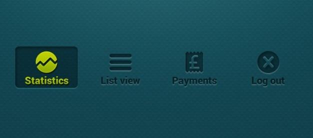 Boutons bancaires liste des icônes déconnexion mobiles achat statistiques rectangulaire ui