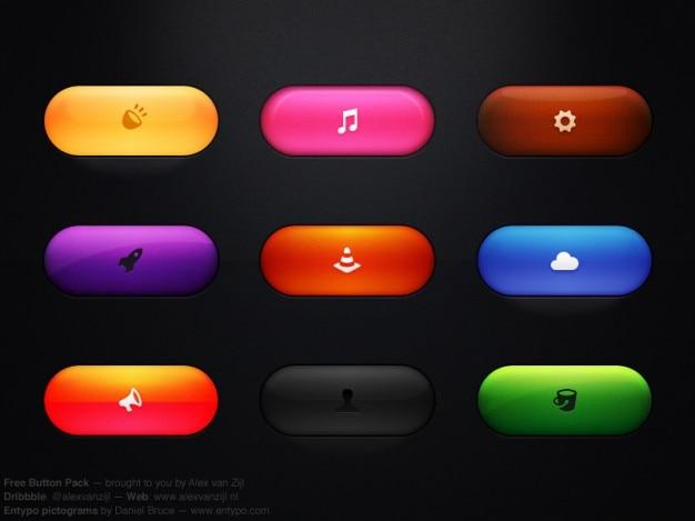 Boutons colorés avec des icônes psd