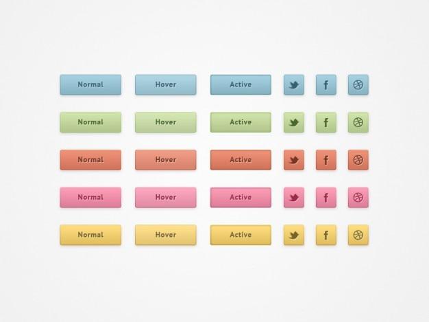 Boutons de réseaux sociaux colorées psd