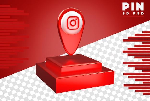 Broche 3d avec rendu instagram couleur métallique rouge isolé