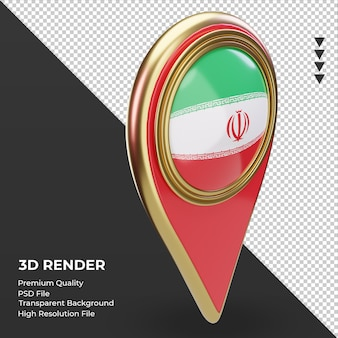 Broche d'emplacement 3d rendu du drapeau de l'iran vue de gauche