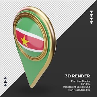 Broche de localisation 3d rendu du drapeau du suriname vue de droite