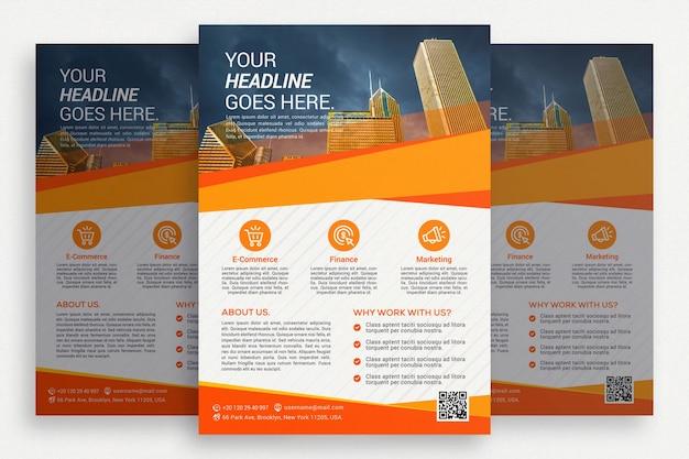 Brochure commerciale blanche avec détails orange