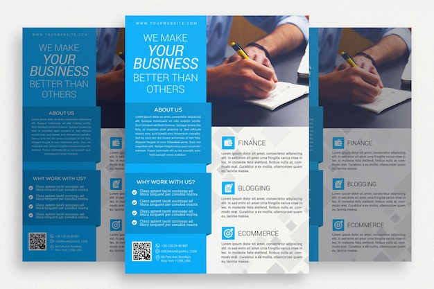 Brochure commerciale bleue et blanche