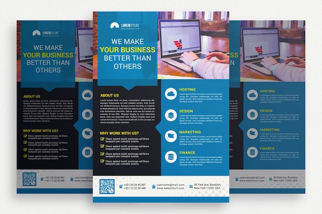 Brochure commerciale bleue et noire