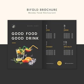 Brochure à deux volets sur la bonne nourriture et les boissons